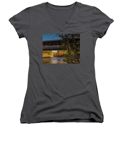 Saco River Covered Bridge Women's V-Neck