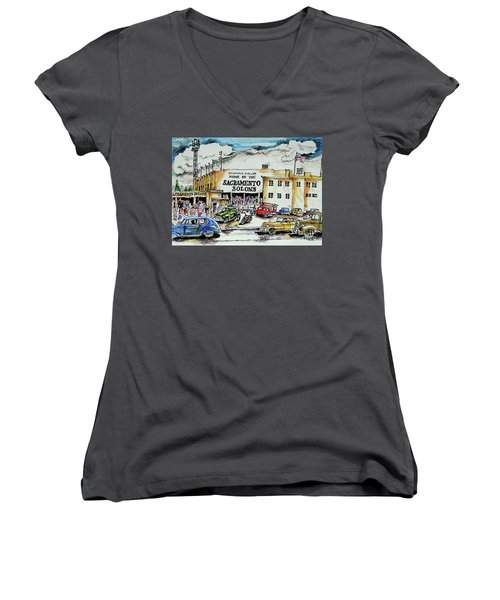 Women's V-Neck T-Shirt (Junior Cut) featuring the painting Sacramento Solons by Terry Banderas
