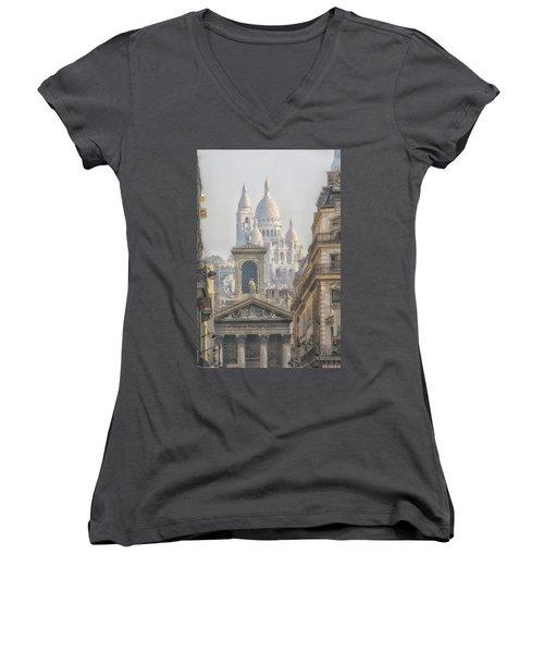 Sacre-coeur  Women's V-Neck T-Shirt (Junior Cut) by Catherine Alfidi