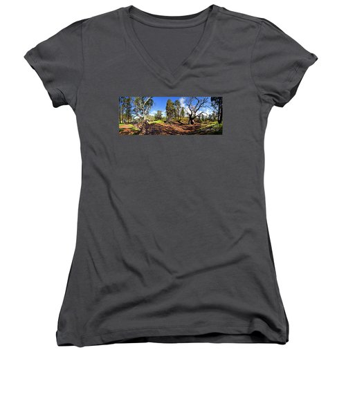 Women's V-Neck T-Shirt (Junior Cut) featuring the photograph Sacred Canyon, Flinders Ranges by Bill Robinson