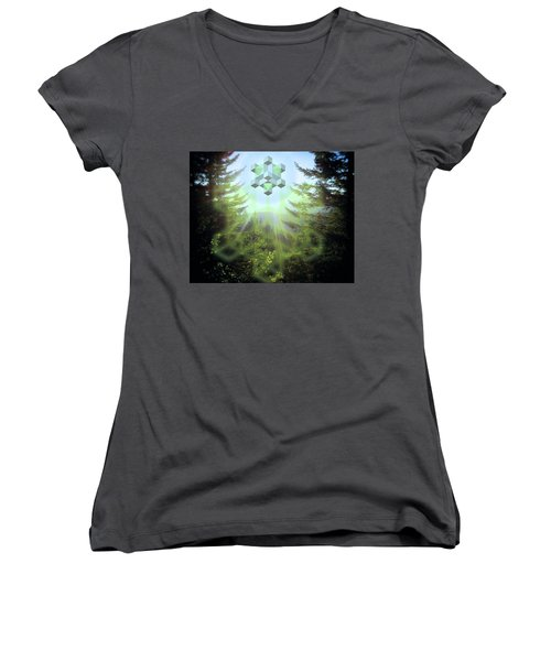 Sacred Forest Event Women's V-Neck T-Shirt (Junior Cut) by Milton Thompson