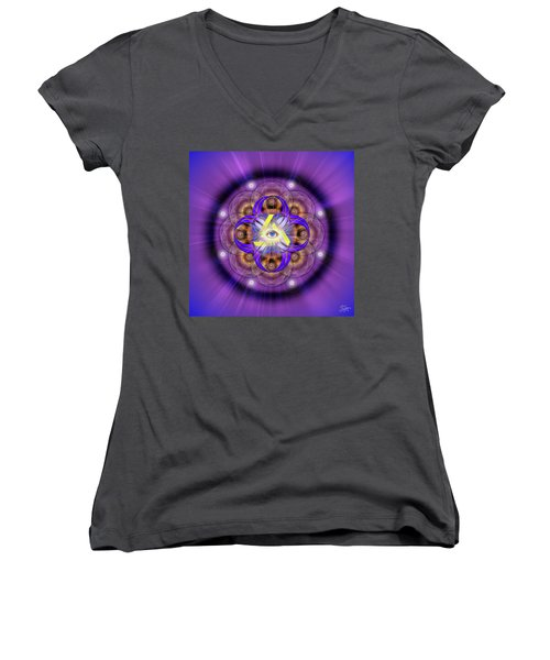 Sacred Geometry 639 Women's V-Neck T-Shirt (Junior Cut) by Endre Balogh