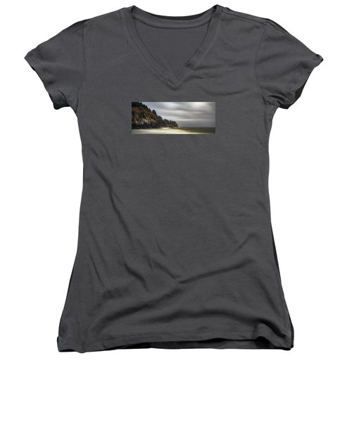 Safe  Passage Women's V-Neck T-Shirt (Junior Cut) by James Heckt