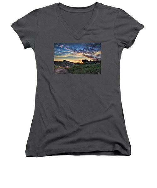 Sage Ranch Sunset Women's V-Neck T-Shirt (Junior Cut) by Endre Balogh