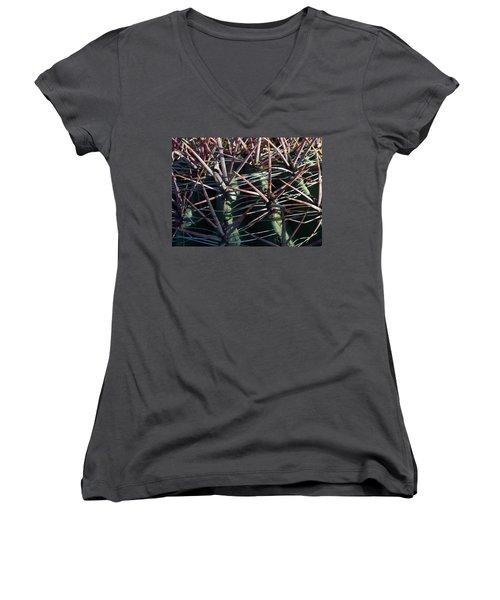 Women's V-Neck T-Shirt (Junior Cut) featuring the photograph Saguaro Grid by Carolina Liechtenstein