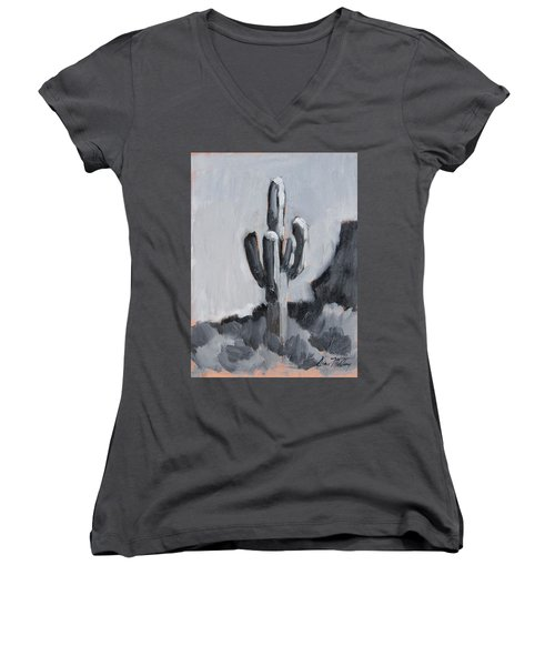 Women's V-Neck T-Shirt (Junior Cut) featuring the painting Saguaro Plein Air Study by Diane McClary
