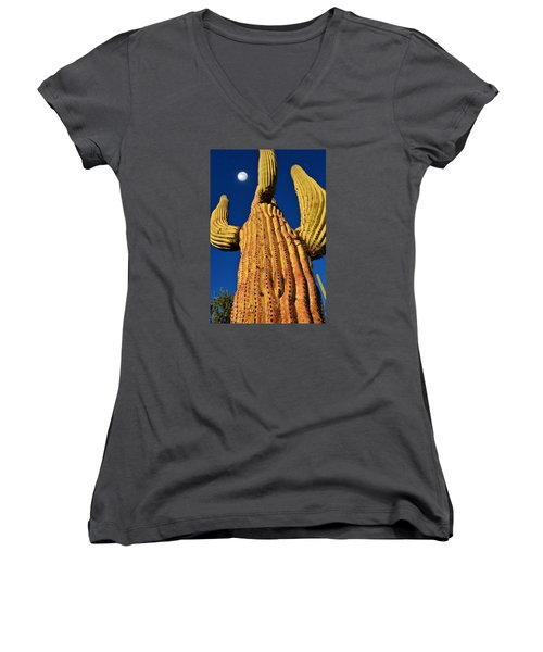 Saguaro Reaching To The Sky Women's V-Neck (Athletic Fit)