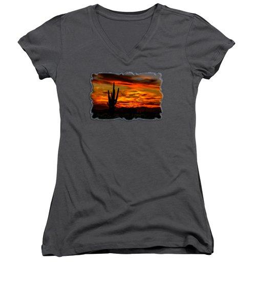 Saguaro Sunset H51 Women's V-Neck T-Shirt