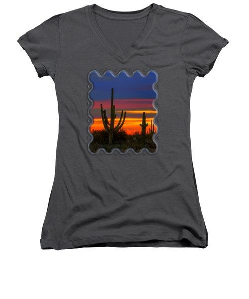 Saguaro Sunset V30 Women's V-Neck T-Shirt