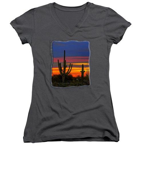 Saguaro Sunset V31 Women's V-Neck T-Shirt