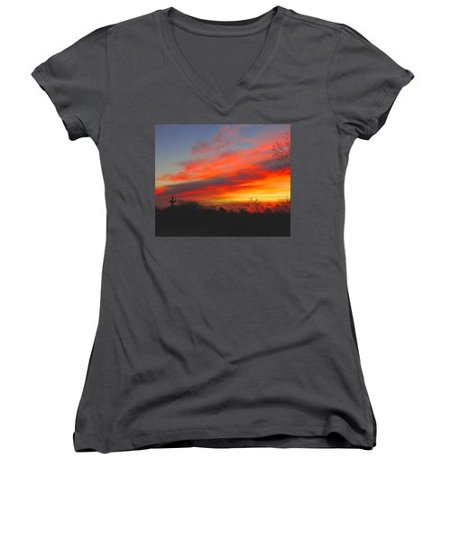 Saguaro Winter Sunrise Women's V-Neck