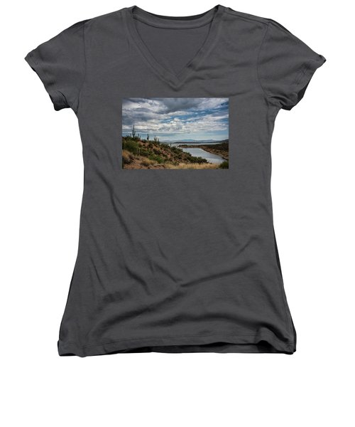 Women's V-Neck T-Shirt featuring the photograph Saguaro With A Lake View  by Saija Lehtonen