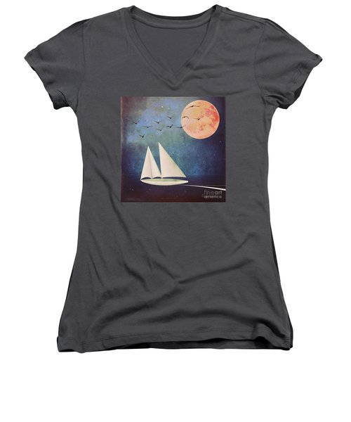 Sail Away Women's V-Neck T-Shirt (Junior Cut) by Alexis Rotella