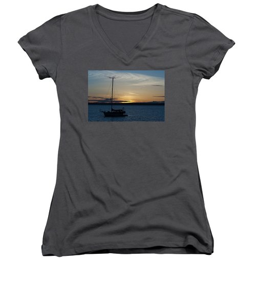 Sail Boat At Sunset Women's V-Neck (Athletic Fit)