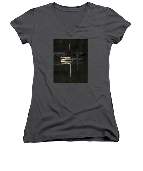 Sailboat At Rest Women's V-Neck (Athletic Fit)