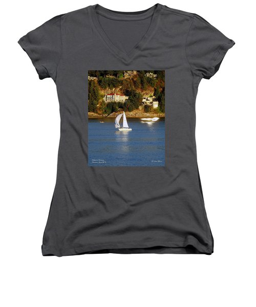 Sailboat In Vancouver Women's V-Neck T-Shirt (Junior Cut) by Robert Meanor