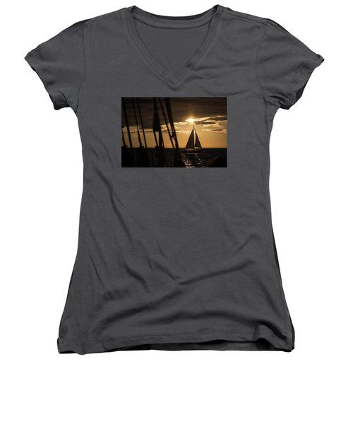 Sailboat On The Horizon Women's V-Neck (Athletic Fit)