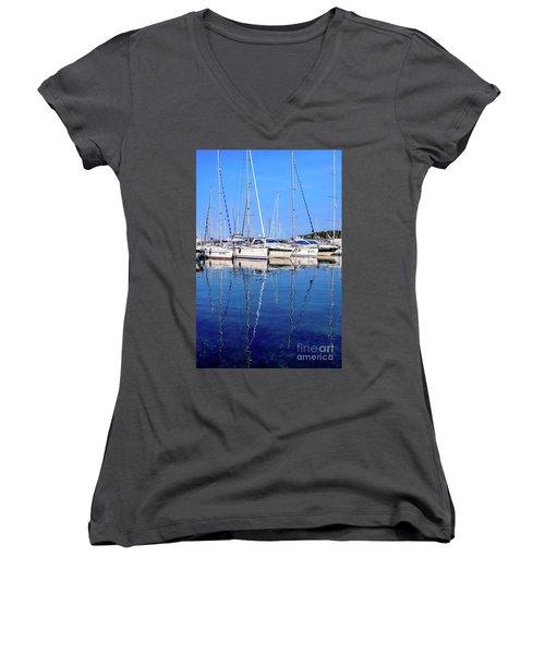 Sailboat Reflections - Rovinj, Croatia  Women's V-Neck