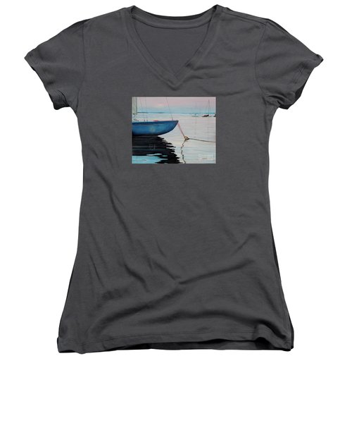Sailboat Tied Women's V-Neck (Athletic Fit)