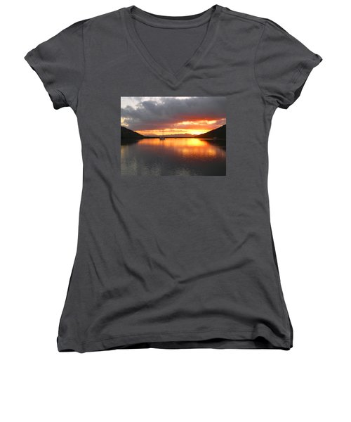 Women's V-Neck T-Shirt (Junior Cut) featuring the digital art Sailboats At Sunrise In Puerto Escondido by Anne Mott