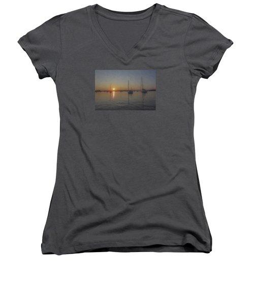 Sailboats At Sunset Women's V-Neck T-Shirt