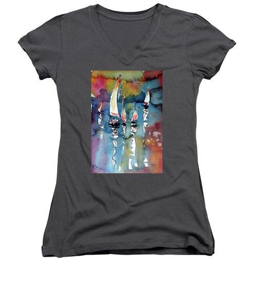 Women's V-Neck T-Shirt (Junior Cut) featuring the painting Sailboats II by Kovacs Anna Brigitta