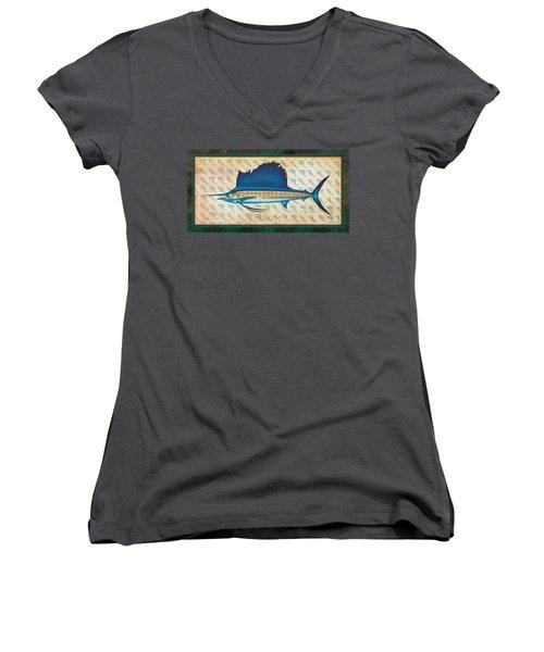 Sailfish Women's V-Neck T-Shirt (Junior Cut) by Jon Q Wright