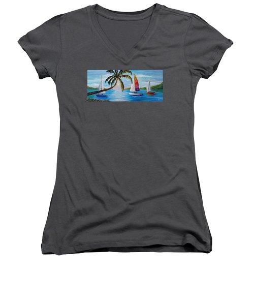 Sailing At Sunset Women's V-Neck T-Shirt