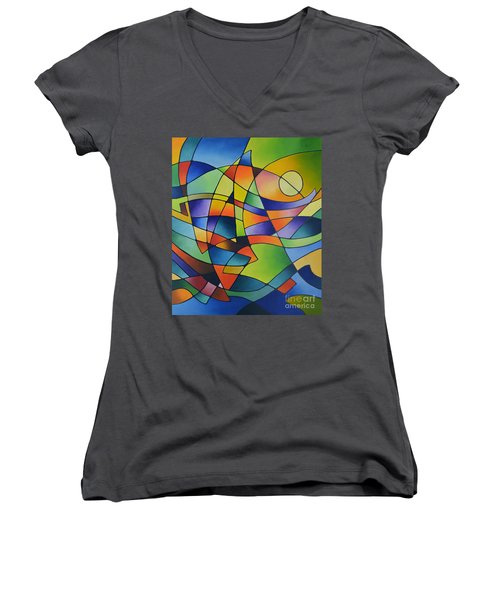 Sailing Away, Canvas Two Women's V-Neck (Athletic Fit)