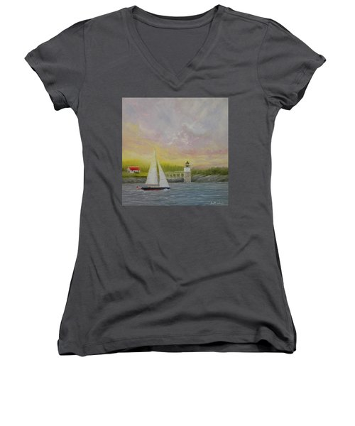 Sailing By Ram Island Women's V-Neck (Athletic Fit)