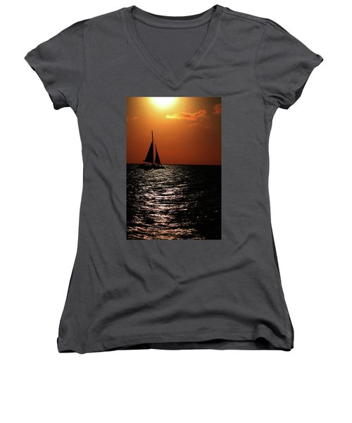 Women's V-Neck featuring the photograph Sailing Into The Sunset by Kevin Banker