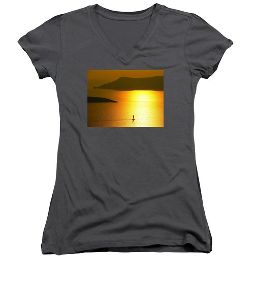 Women's V-Neck T-Shirt (Junior Cut) featuring the photograph Sailing On Gold 1 by Ana Maria Edulescu