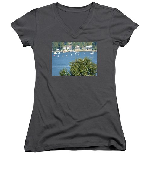 Women's V-Neck T-Shirt (Junior Cut) featuring the painting Sailing by Rod Jellison