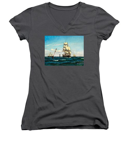Women's V-Neck T-Shirt (Junior Cut) featuring the painting Sailing Ships At Sea by Pg Reproductions