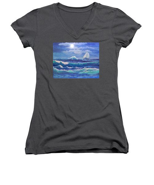 Sailing The Caribbean Women's V-Neck T-Shirt (Junior Cut) by Holly Martinson
