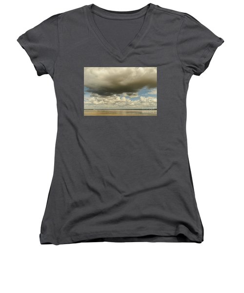 Women's V-Neck T-Shirt (Junior Cut) featuring the photograph Sailing The Irrawaddy by Werner Padarin
