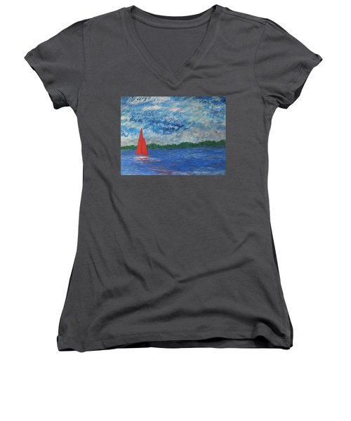 Sailing The Wind Women's V-Neck T-Shirt (Junior Cut) by John Scates