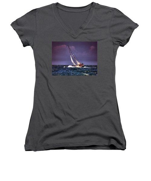 Sailing To Nantucket 001 Women's V-Neck
