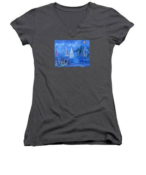 Women's V-Neck T-Shirt (Junior Cut) featuring the painting Sails And Sun by Betty Pieper