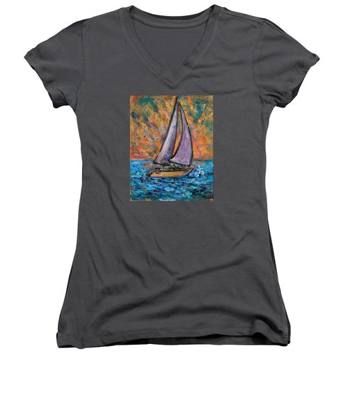 Women's V-Neck T-Shirt featuring the painting Sails Up by Xueling Zou