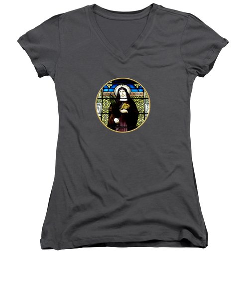 Saint Amelia Stained Glass Window In The Round Women's V-Neck