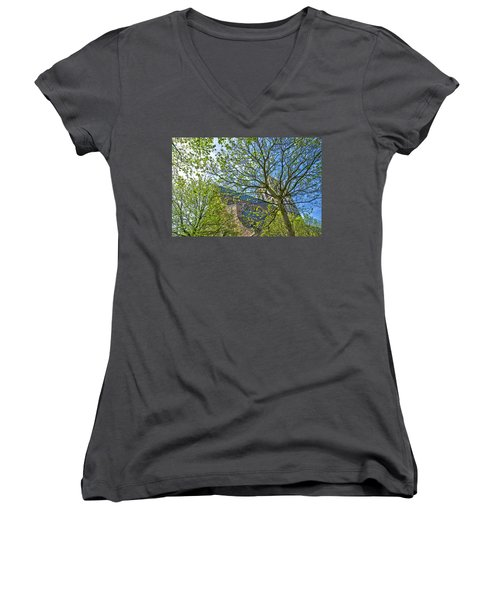 Saint Catharine's Church In Brielle Women's V-Neck T-Shirt (Junior Cut) by Frans Blok