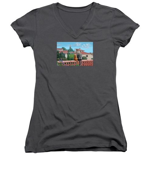 Saint-frajou. August. Women's V-Neck (Athletic Fit)