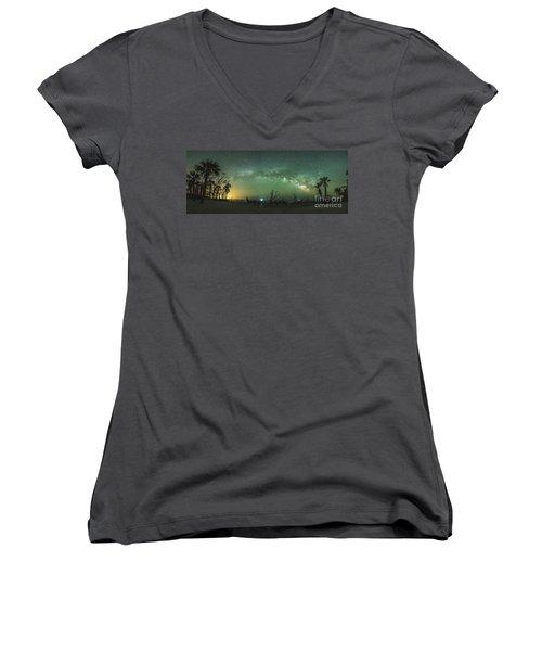 Saint Helena Island Milky Way Women's V-Neck T-Shirt (Junior Cut) by Robert Loe