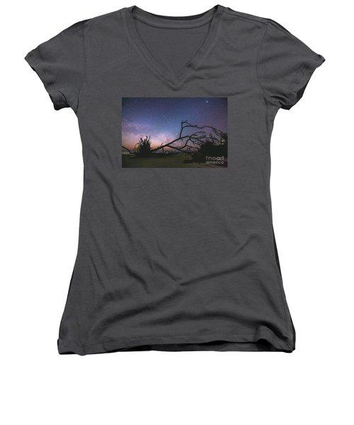 Saint Helena Milky Women's V-Neck T-Shirt (Junior Cut) by Robert Loe