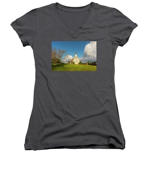 Women's V-Neck T-Shirt (Junior Cut) featuring the photograph Saint Joseph's Church by Ryan Manuel