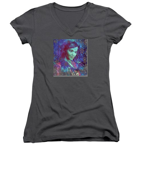 Women's V-Neck T-Shirt (Junior Cut) featuring the painting Saint Mary Magdalene Of Nagasaki by Suzanne Silvir