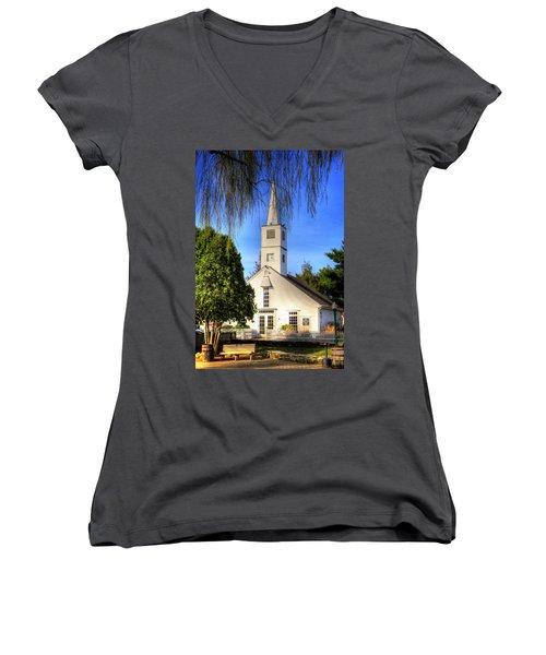 Women's V-Neck T-Shirt (Junior Cut) featuring the photograph Saint Mathais Angelican Church by Tom Prendergast