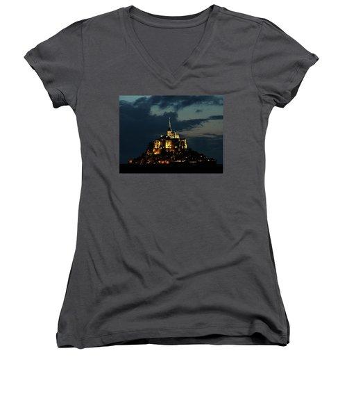 Saint Michel Mount After The Sunset, France Women's V-Neck T-Shirt (Junior Cut) by Yoel Koskas