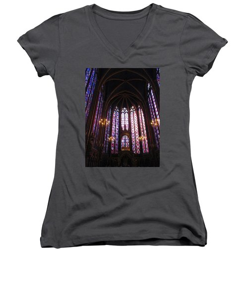 Women's V-Neck T-Shirt (Junior Cut) featuring the photograph Sainte-chapelle by Christopher Kirby